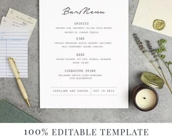 Wedding Bar Menu Template, Editable Bar Menu Printable, Word or Pages, Mac or PC, Library Book Suite, Instant DOWNLOAD