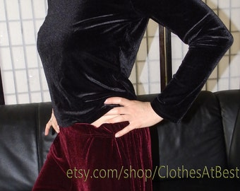black velvet blouse of velvet velvety plush velvet black