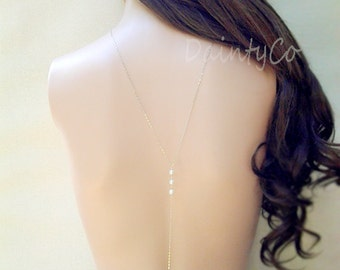 Pearl Bridal Back Necklace long necklace back drop necklace backless dress low open back dress necklace bride wedding jewelry