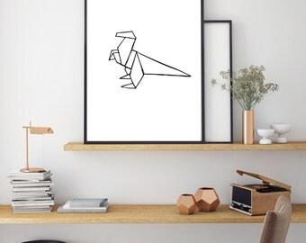Dinosaur Print, Geometric Poster, Digital Print, Minimal Animal Art, Modern Wall Poster, Abstract Art, Home Decor, Black And White Print