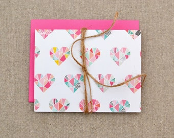 Heart Cards - Set of 4 Folded Note Cards - Heart Notecards -  Valentine's Day Cards - Love Notecards - Love Note Cards - Heart Note Cards