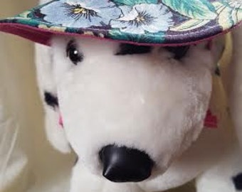 "Small Dog Visor - Garden flowers and Rose - Fits Neck Size 8-10"" - 0006"