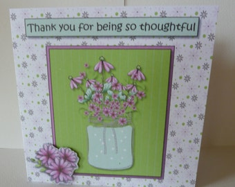3d Decoupaged, Bright Floral Thank you Card which can be personalised