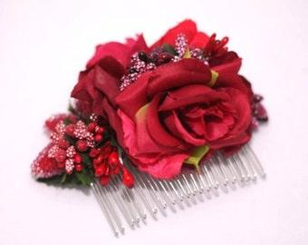 Red flower hair piece, flower hair piece, floral comb, bridesmaid hair accessory, red wedding hair accessories, handmade, Three Snails