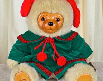 "Vintage Christmas Raike's ""Kathie Christmas"" Bear - Collectible, Numbered, and has a COA"