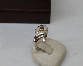 18 mm.925 Silver ring tourmaline of pink vintage SR128