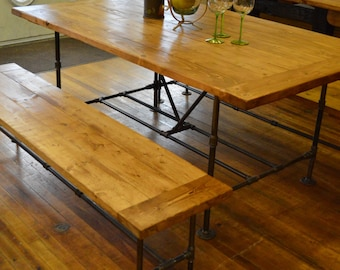 Industrial Pipe Handmade Wood Table