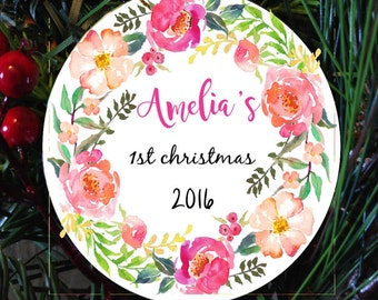 Baby's first christmas ornament, child first ornament, personalized christmas ornament for girl