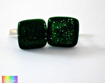 Green sparkle cufflinks pair fused glass handcrafted