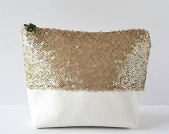 Sequin and Faux Leather Cosmetic & Toiletry Bag - Matte Champagne-Gold Sequin, Off-White Faux Leather, Matte Satin Lining