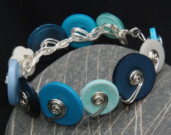 Bracelet / Bangle Silver Plated Contemporary Jewellery / Jewelry Teal Blue Turquoise Cream Buttons Silver Plated Christmas Gifts for Her