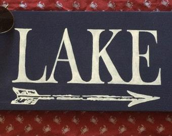 Lake sign, Lake sign with arrow, arrow, wood sign, lake wood sign