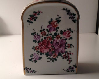 Antique French Porcelain tea caddy with original top
