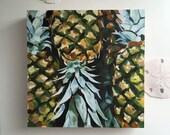 "Piñas Maduras Still Life, 8"" x 8,"" Original Oil Painting, pineapple, tropical fruit, oil on wood panel"