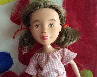 Helping Hand Dolls: Repainted Bratz Makeover Makeunder OOAK Rescued Doll, Brunette, Short Hair, Brown Eyes, Brown Hair, Pink Dress
