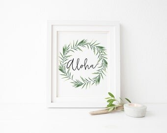 Aloha sign, Tropical Print, Aloha prints, Botanical printable, Tropical Wall Art, Hawaiian artwork, Aloha beaches, Hawaiian Decor, Minimal