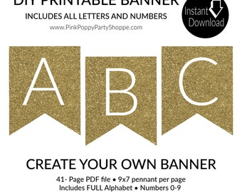 Gold Glitter Pennant Banner INSTANT DOWNLOAD Banner | Printable banner | Bridal Shower Decor | FULL Alphabet Banner