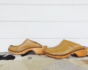 swedish vollsjo  leather clogs- vintage wooden slides - vintage 70s slip on clogs- woman's size 9