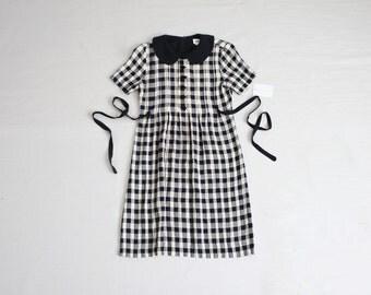 gingham dress / 90s dress / peter pan collar dress