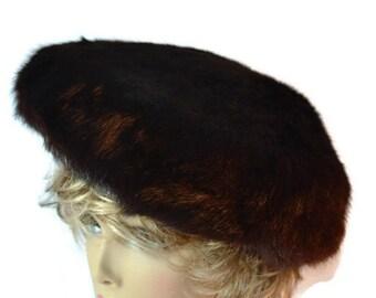 Mink Hat,  Fur Hat, Vintage  French Hat,   Mink, 1950's Hat,  Cap,  Hat, Russian Cap, Brown, Evening  Pillbox