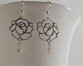 Silver Rose Earrings with Double Aurora Borealis Coating (White) Swarovski Crystals