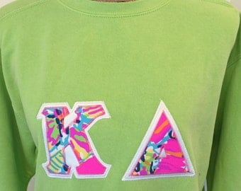 size m kappa delta stitched letters with lilly pulitzer fabric appliqu greek letters comfort colors sweatshirt