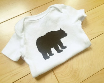Black Grizzly Bear Bodysuit / Baby Boy Clothes / Wilderness / Unique / Baby Clothes