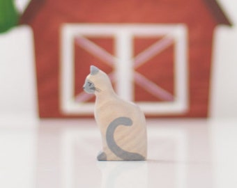 Wooden Cat Toy. Waldorf Animal Toy. Cat Figurine. Domestic Toy Animals. Wooden toy. Miniature animal figurines. Toddler toy