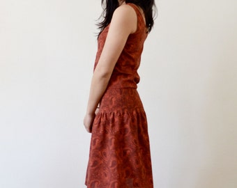Dress woman, Paisley dress, cotton, dress lightly, to summer dress, retro, made in Paris, made in France, size 38