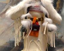 Plains Indian, Native American, Doll, Handmade, Hand beaded, Leather Buckskin, White Fur, Bead work, Moccasins, Leggins, Trade Cloth, OOAK!