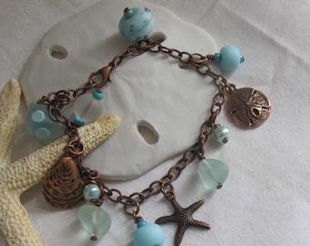 Sea glass charm bracelet ~ copper & blue