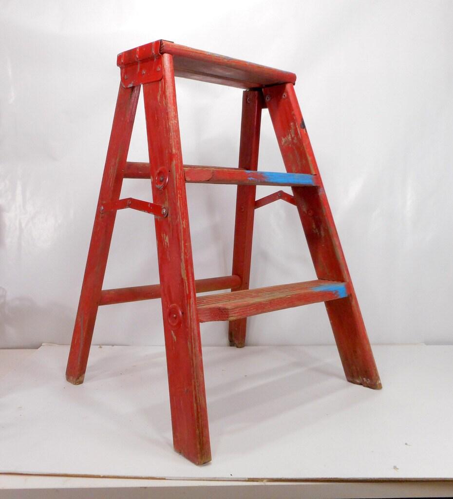 Vintage Step Ladder Red Wooden Step Stool