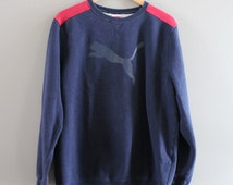 PUMA Sweatshirt Blue Fleece Lining Cotton Puma Pullover Logo Sweater Slouchy Baggy Vintage 90s Sweater Size M - L