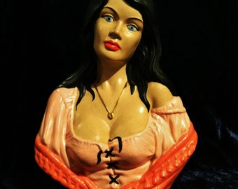 1970's Ceramic Gypsy Lady With Really Nice Rack Statue