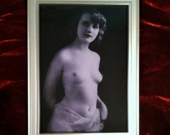 Victorian Erotic Print In Silver Frame