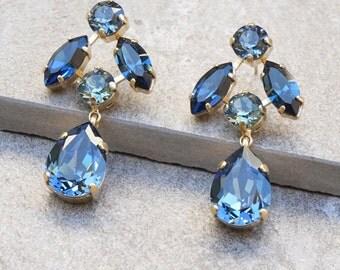 Drop Earring Swarovski Dangle Earrings Blue Earrings Wedding Bridesmaid Jewelry Bridesmaid earrings Swarovski Earrings Crystal Earring