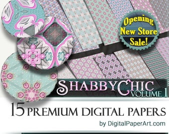 Shabby Chic Digital Paper pack Vol.1 Pink and blue scrapbooking paper. Instant Download decoupage paper. Commercial Use digital paper mint