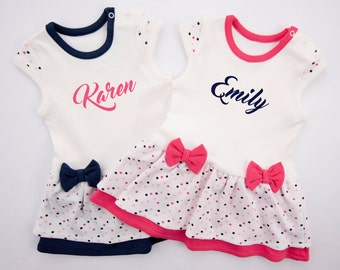 PERSONALIZED Twin Girls Outfits, Navy/Cream/Polka Dots & Pink/Cream/Polka Dots Bodysuit Dress, Cute Twin Girls Outfit, Gift For Twin Girls