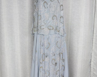 Stunning 1920's Silk and Crystal Studded Show Girl Gown