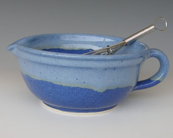 Small Batter Bowl. Wheel Thrown Stoneware. Glazed in three different blues. Holds 2 cups.