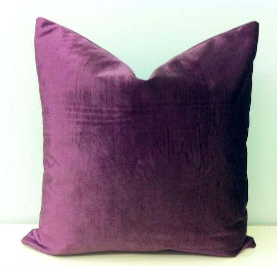 Throw Pillows Printing : Plum Velvet Throw Pillow Dark Lilac Pillow Purple by artdecopillow
