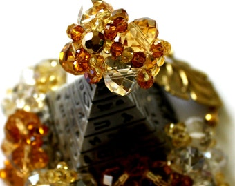 Crystal Ring, Large Cocktail Ring, Glamorous Victorian Ring, Large Ring, Statement Ring, Gold Crystal Ring, Wedding Bridal Ring, Chunky Ring