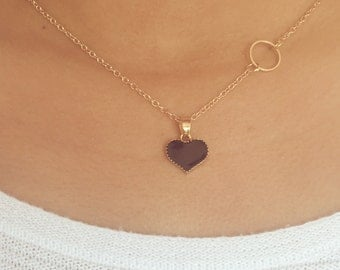 Black Heart & Circle Necklace, Bridesmaid gift, Love, Dainty, Girls