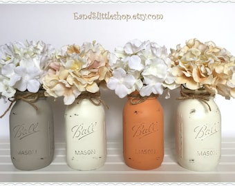 Mason Jar Table Centerpiece-Home Decor Vase Painted Mason Jars Centerpiece-Wedding Centerpieces-Country Decor-Rustic Decor-Shabby Chic Decor