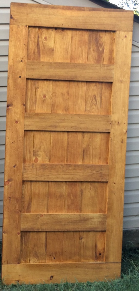5 panel rustic hanging sliding barn door by for Hanging a sliding barn door
