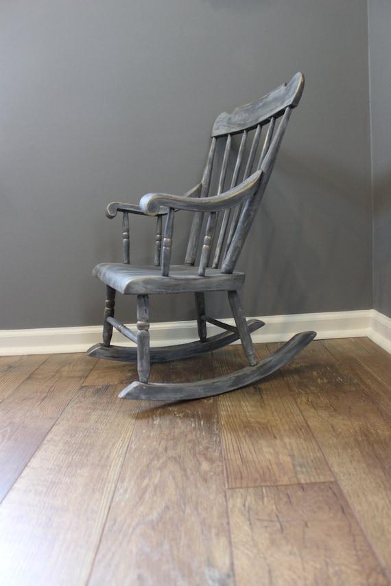 Shabby chic kids rocking chair gray