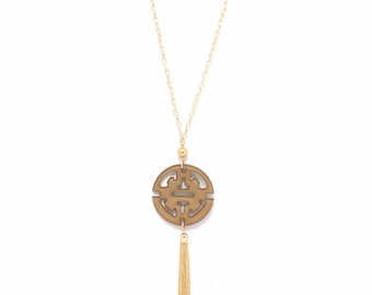 Zenzii Tan Travel Tassel Pendant Necklace ~ Perfect for Fall