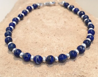 Blue bracelet, lapis bracelet, Hill Tribe silver bracelet, sundance style bracelet, gemstone bracelet, natural bracelet, gift for her