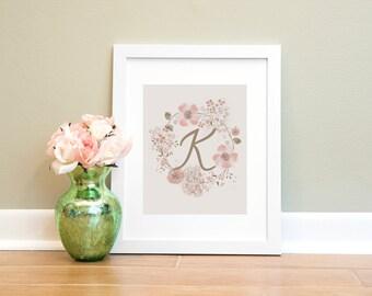 Letter Print K, Monogram Letter K Wall Art Printable, Nursery Art, Home Decor Printable Wall Art, Pink and Brown Letter Print, Floral Print