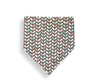 Drool Bib <<Mint Leaves>> Neckerchief/Baby/Toddler Bandana/Scarf/Bib//Blue//Green//White//Gray//Mint